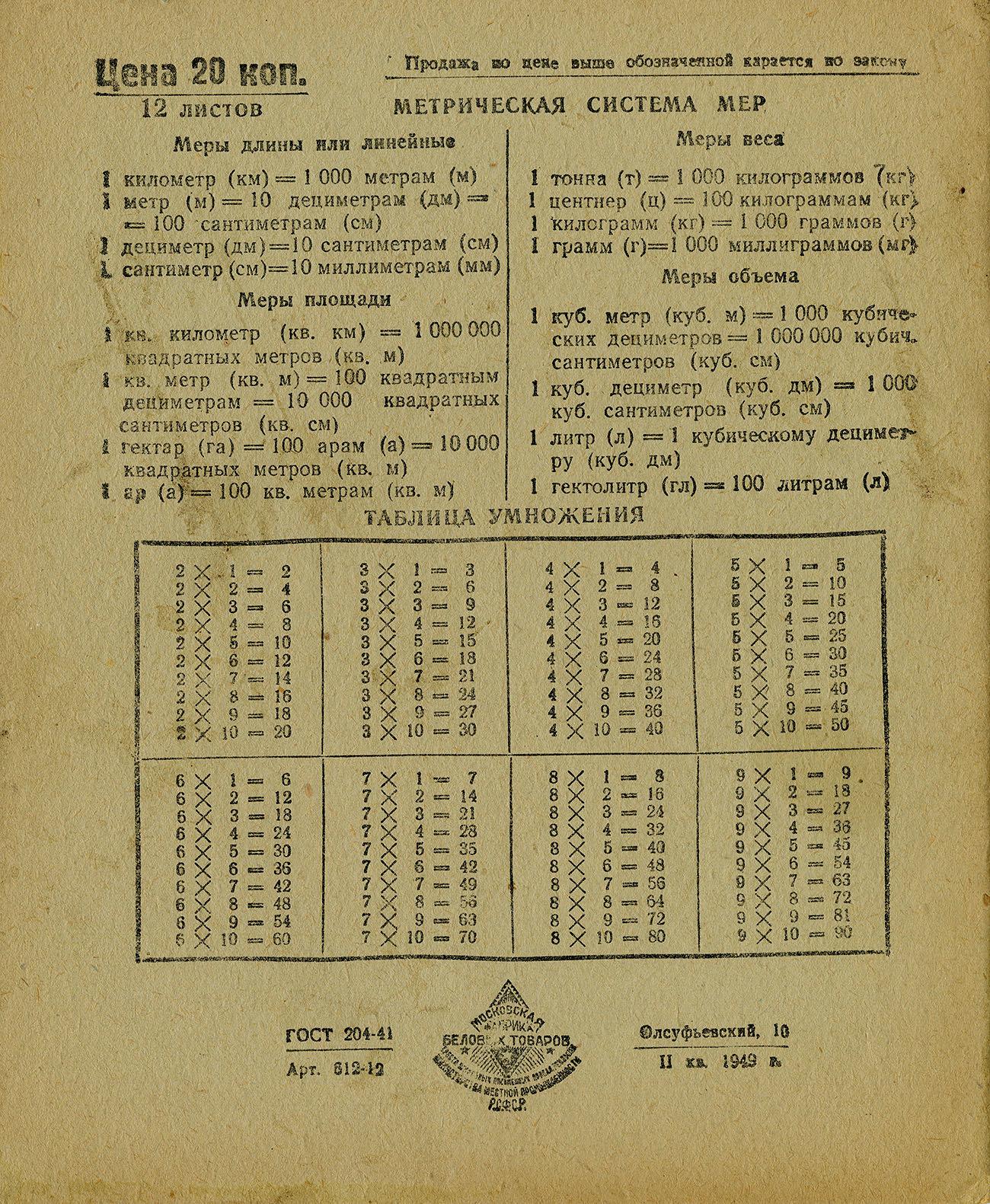 Московская фабрика беловых товаров, 1950, оборот