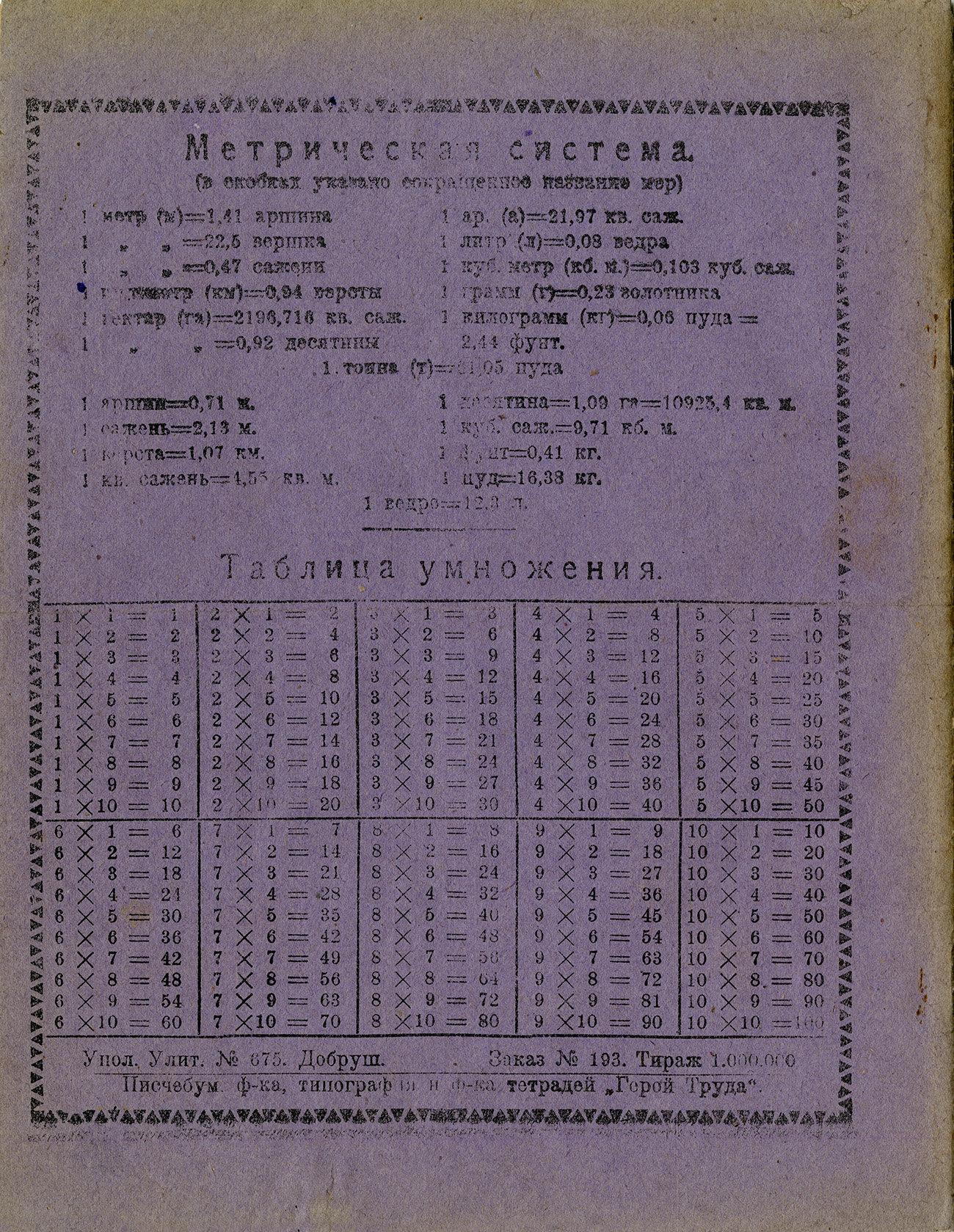 Тетрадь Ленин, 1928, Герой труда, оборот