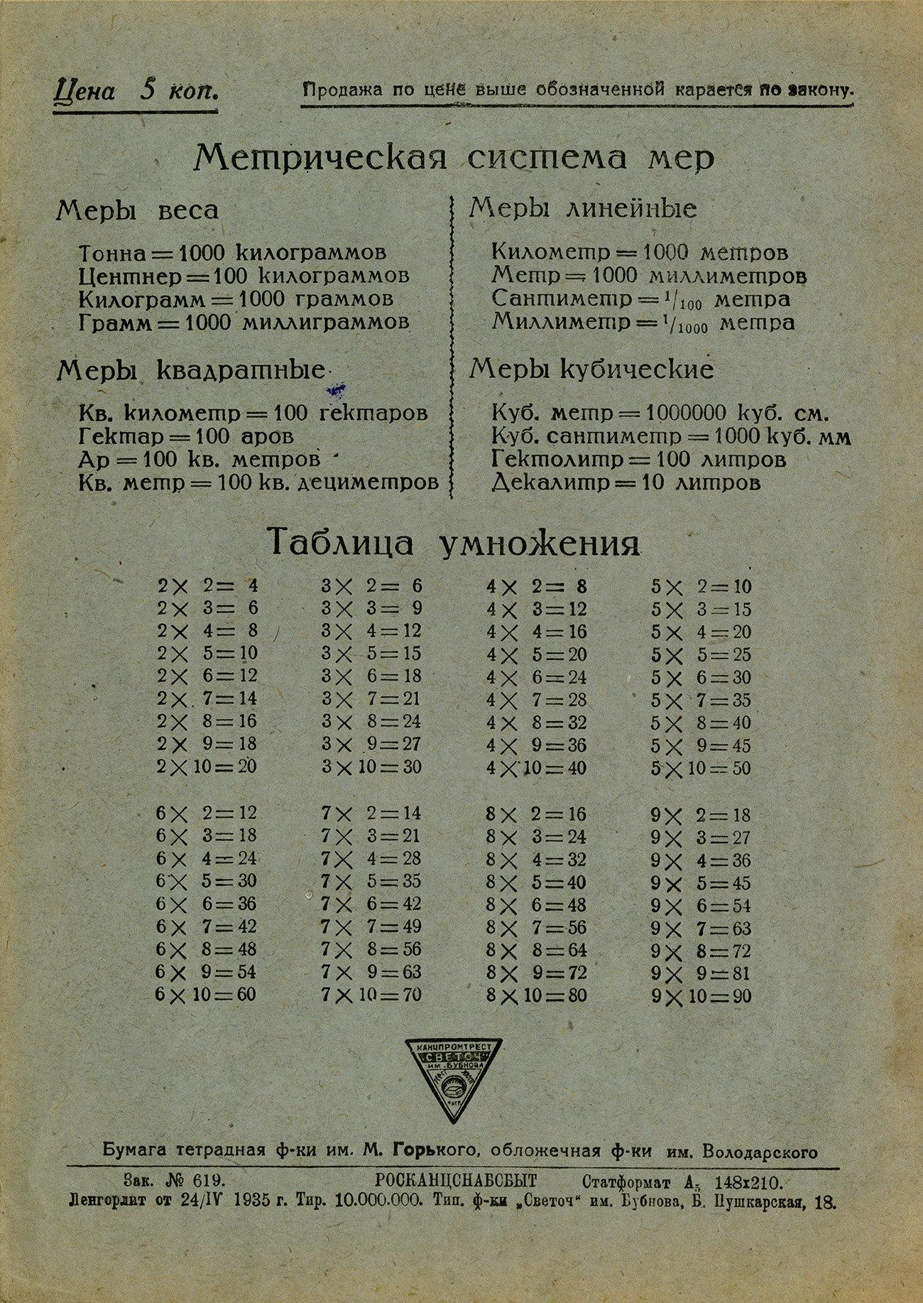 Тетрадь Ленин Сталин, 1935, оборот