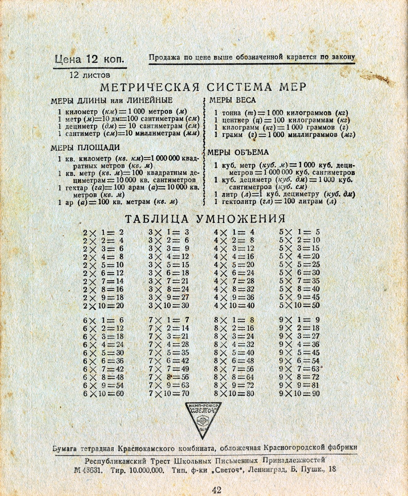 Тетрадь СССР, Чапаев, оборот